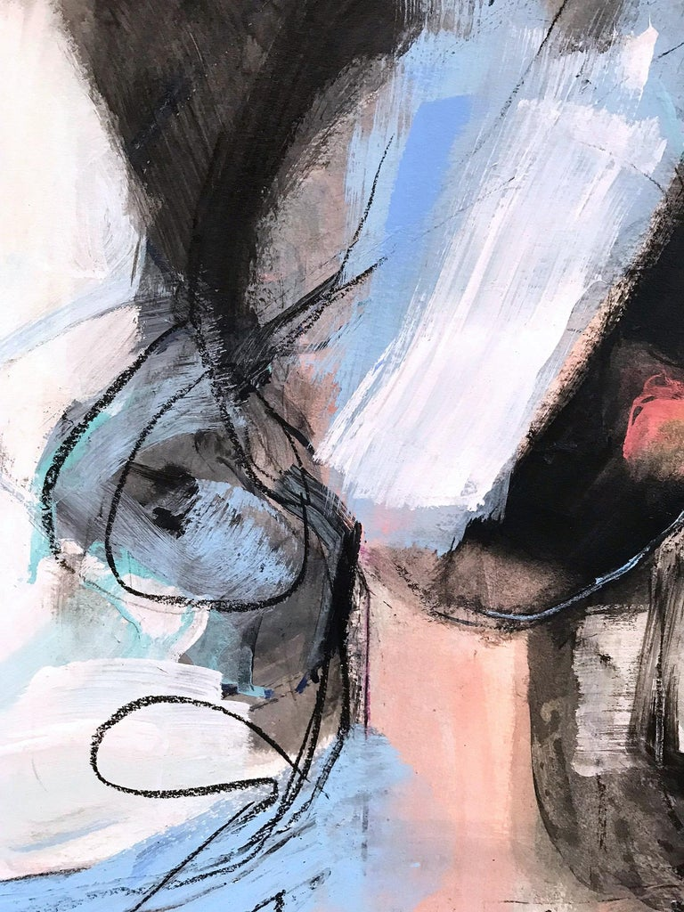 A beautiful minimal contemporary piece on Heavy Weight paper done with mixed media and a lot of texture. This piece is filled with movement and beautiful brushwork. The artist evokes a wonderful sense of lust and beauty in her sense of style and