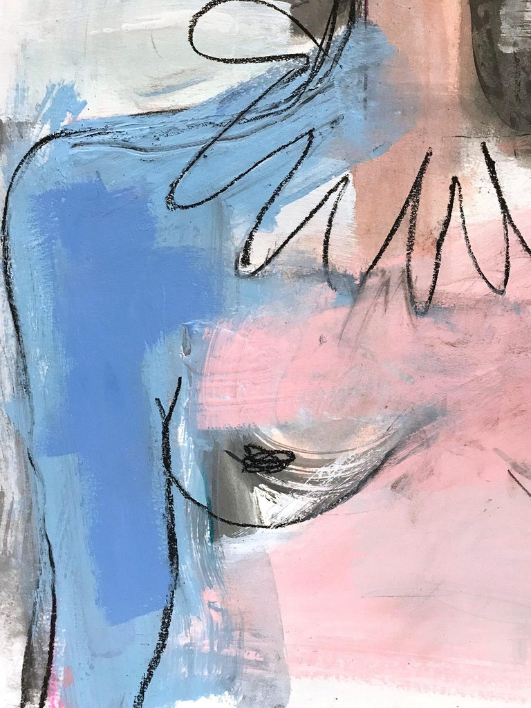 The White Curtain, Modern Nude on Paper For Sale 1