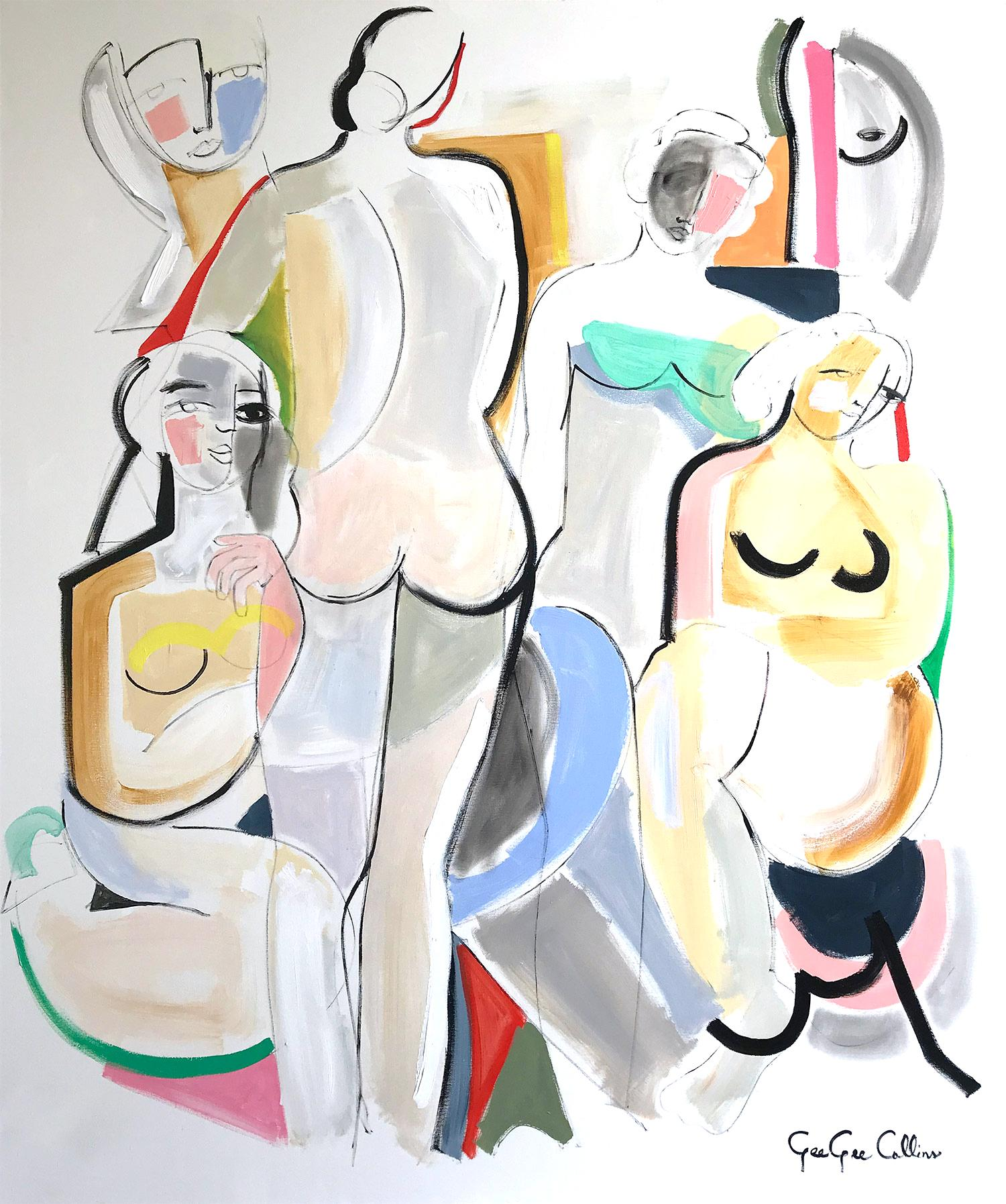 """""""The Woman of Greece"""" Modernist Abstract Nudes Painting on Canvas"""