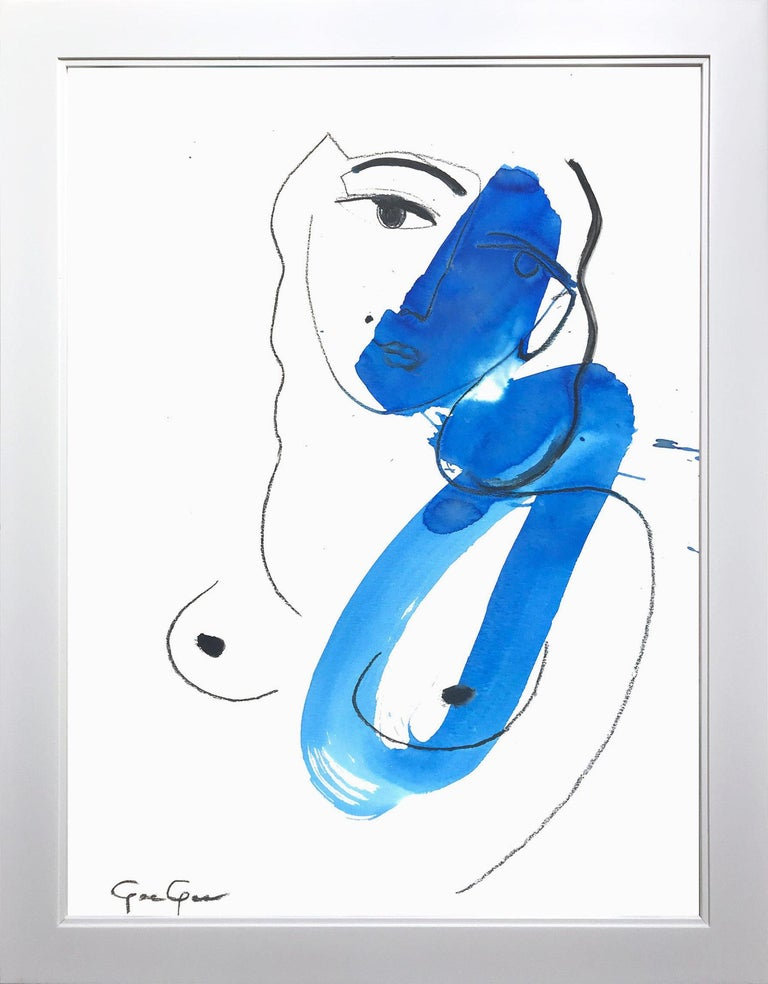 """Gee Gee Collins Figurative Painting - """"Woman Uncovered (Blue)"""" Modern Colorful Nude Painting on Paper"""
