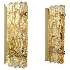 Gefion Sconces, Pair Crystal Glass Wall Lights by Lyfa/Orrefors in the 1960s