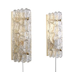 Gefion Sconces 'Pair', Crystal Glass Wall Lights by Lyfa and Orrefors, 1960s