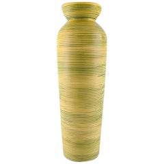 Gefle, Bo Fajans Floor Vase in Modern Design, Yellow-Glazed, Marked, 1950s-1960s