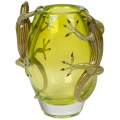 Geko Vase Small, Small Vase in Glass with 2 Gekos, Italy