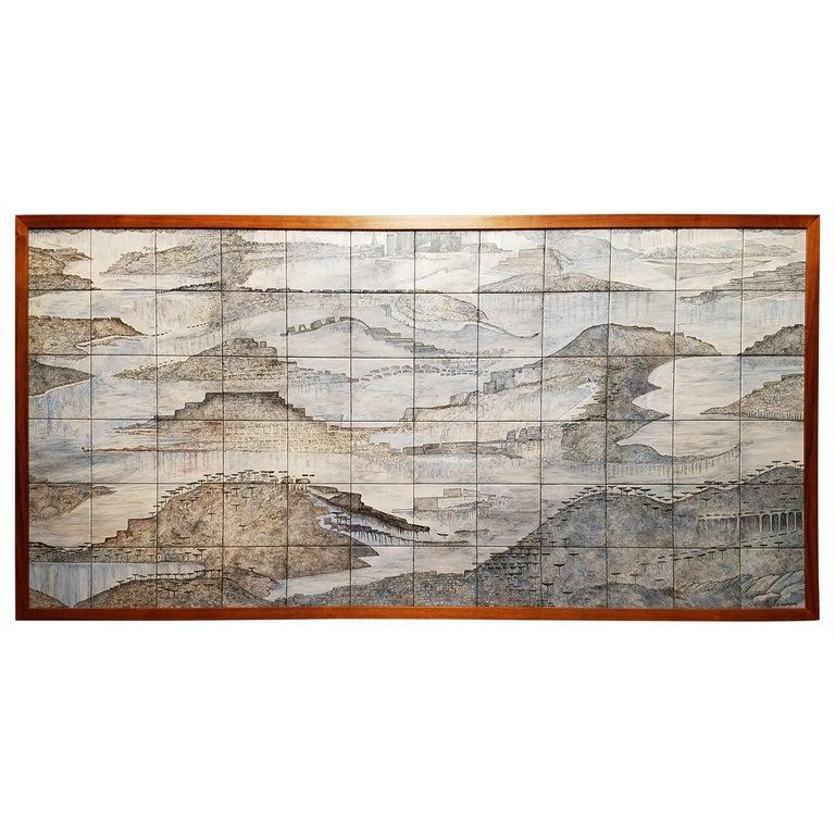 "Gela St. Galy ""Dawn of Civilization"" Ceramic Tile Panel  Carmel, CA, circa 1978 For Sale"