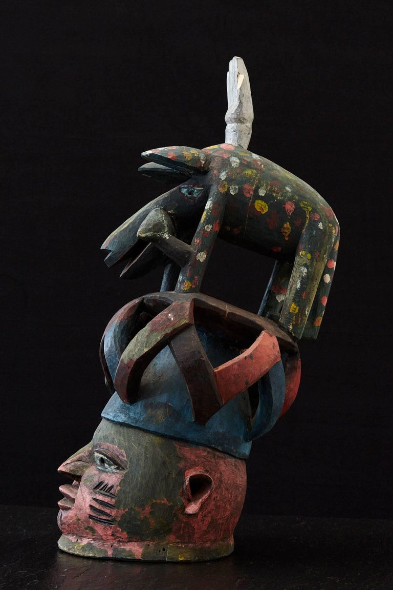 Tribal Gelede Headdress, Yoruba People, Nigeria, circa 1950s For Sale