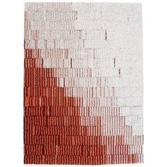 Gelosie Coral and Ecru Rug 100% Wool by Portego / Extra Large