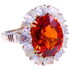 Gem 11 Carat Spessartite Garnet Platinum Diamond Ring
