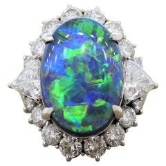 Gem Australian Black Opal Diamond Platinum Ring