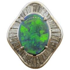 Gem Australian Opal Diamond Platinum Cocktail Ring