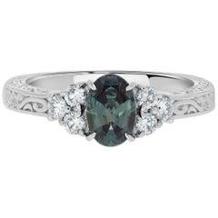 Gem Bleu 0.75 Carat Natural Alexandrite with 0.24 Carat Diamonds Set in Platinum