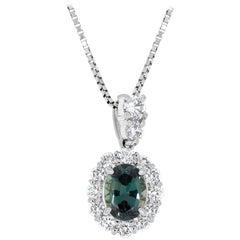 Gem Bleu 0.79 Carat Natural Alexandrite with 0.52 Carat Diamonds Set in Platinum