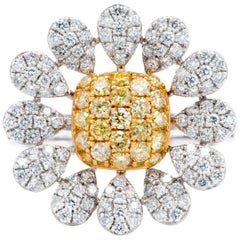 "Gem Bleu 0.86 Carat Yellow Diamond ""Daisy"" Ring in 18 Karat White Gold"