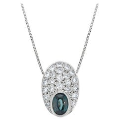 Gem Bleu 0.96 Carat Natural Alexandrite with 0.51 Carat Diamonds Set in Platinum