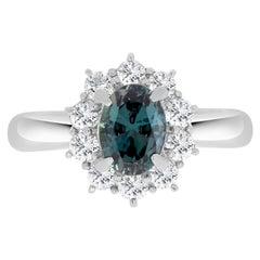 Gem Bleu 1.01 Carat Natural Alexandrite with 0.52 Carat Diamonds Set in Platinum