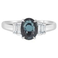 Gem Bleu 1.09ct Natural Alexandrite with 0.35 Carat Diamonds Set in Platinum