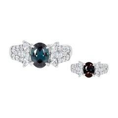 Gem Bleu 1.10ct Alexandrite with 0.72 Tct Diamonds Set in Pt950 Platinum