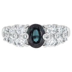 Gem Bleu 1.12 .Carat Natural Alexandrite with 1.02tct Diamonds Set in Platinum