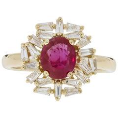 Gem Bleu 1.26 Carat Unheated Ruby in 14K Gold with 0.49 Carat Baguette Diamond