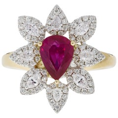 Gem Bleu 1.29 Ct Unheated Ruby in 14k Two Tone Gold with 0.58 Tct Diamond Accent