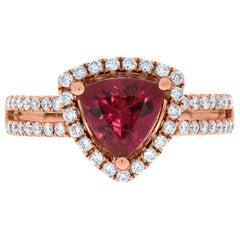 Gem Bleu 1.44ct Tourmaline Ring with 0.49 Carat Diamonds Set in 14 Karat Gold