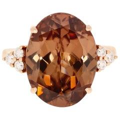 Gem Bleu 16.21 Carat Pink Zircon Ring with 0.23tct Diamonds set in 14K Rose Gold