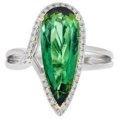 Gem Bleu 1.76 Carat Green Tourmaline Ring in 14 Karat Two-Tone Gold