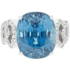 Gem Bleu Blue Zircon 20.09 Carat Oval Ring