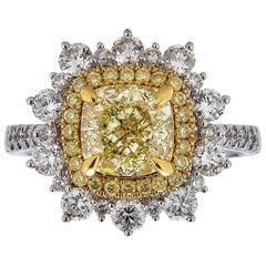 Gem Bleu Fancy Light Yellow Cushion Diamond 2.27 Carat Ring GIA Certified
