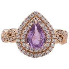 Gem Bleu No Heat Purplish-Pink Sapphire 0.91 Carat Ring in 14 Karat Rose Gold