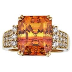 Gem Bleu Sphalerite 10.54 Carat Emerald Cut Ring