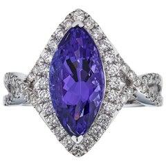 Gem Bleu Tanzanite 3.5 Carat Marquise Ring