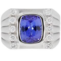 Gem Bleu Tanzanite 4.24 Carat Men's Ring