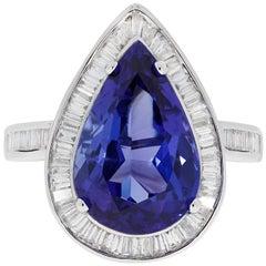 Gem Bleu Tanzanite GIA Certified 6.83 Carat Pear Shape Ring
