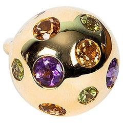 Gem Blossom 18 Karat Gold Ring, Amethyst, Peridot and Citrine
