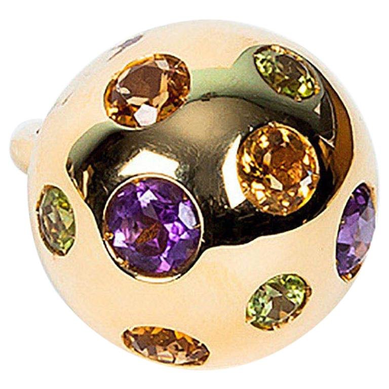 Gem Blossom 18 Karat Gold Ring, Amethyst, Peridot and Citrine For Sale
