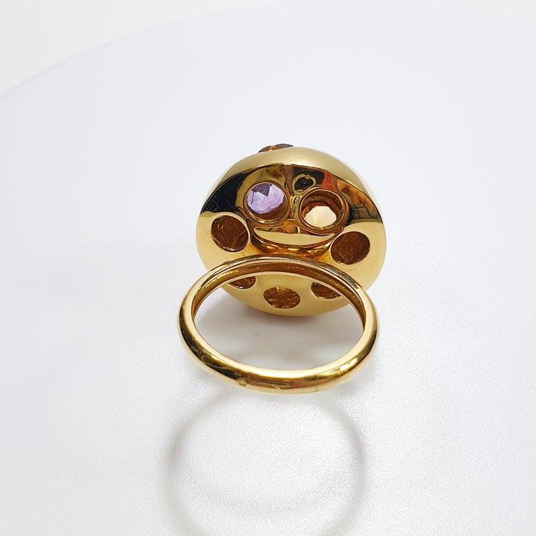 Modern Gem Blossom 18 Karat Gold Ring, Amethyst, Peridot and Citrine For Sale