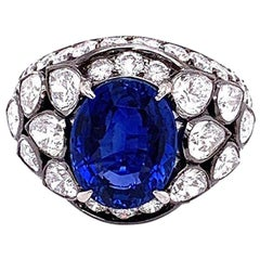 Gem Ceylon Sapphire Diamond Gold Ring, GIA Certified