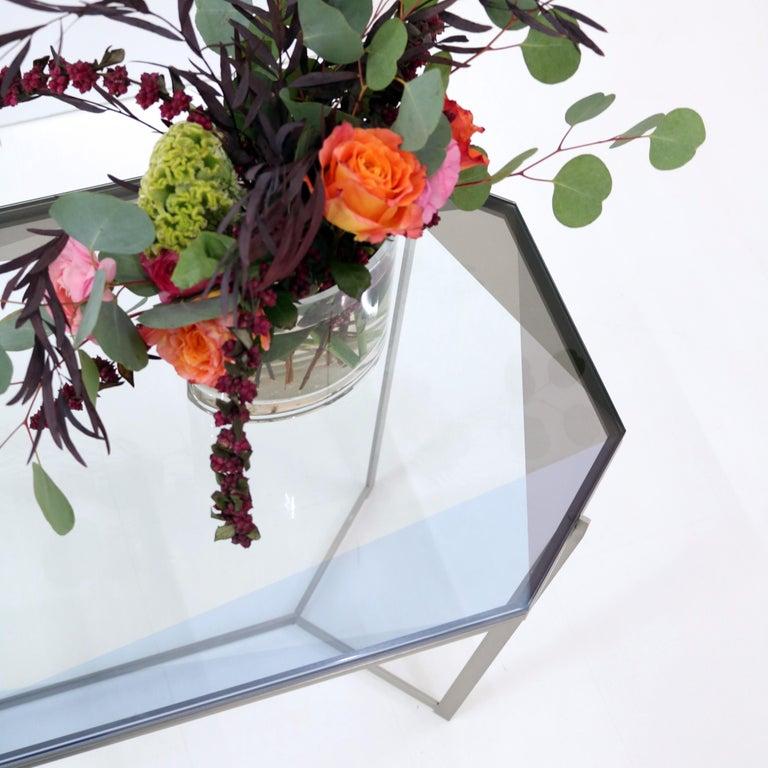 American Gem Cocktail Tables Blue Glass Nickel Metal Base by Debra Folz For Sale