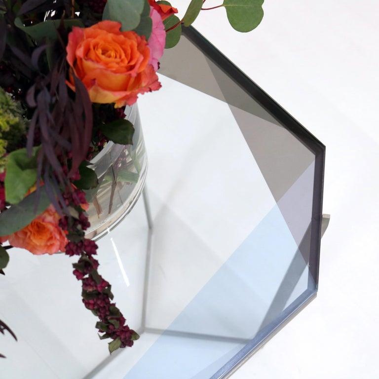 Laminated Gem Cocktail Tables Blue Glass Nickel Metal Base by Debra Folz For Sale