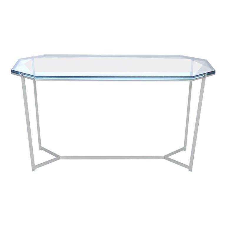Gem Cocktail Tables Blue Glass Nickel Metal Base by Debra Folz For Sale