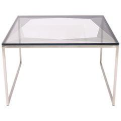 Gem Coffee Table Gray Glass with Nickel Base by Debra Folz