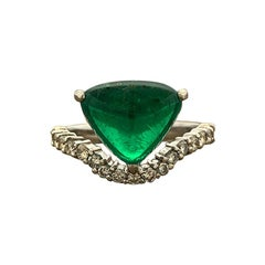 Gem Columbian Emerald Diamond Platinum Ring, AGL Certified