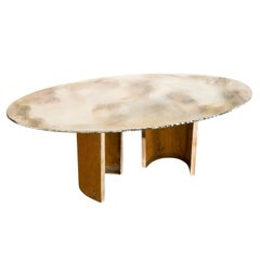 Gem, contemporary Dining Table, silvered Glass Top, pair of  virgo metal legs