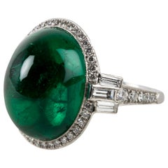 Gem Emerald Cabochon Ring