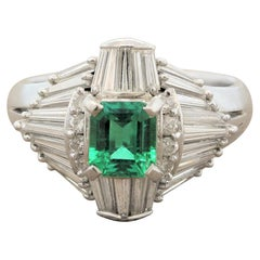 Gem Emerald Diamond Platinum Ring