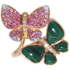 Gem Gallery Butterfly Ring with Multicolored Cocktail Diamonds and Gemstones