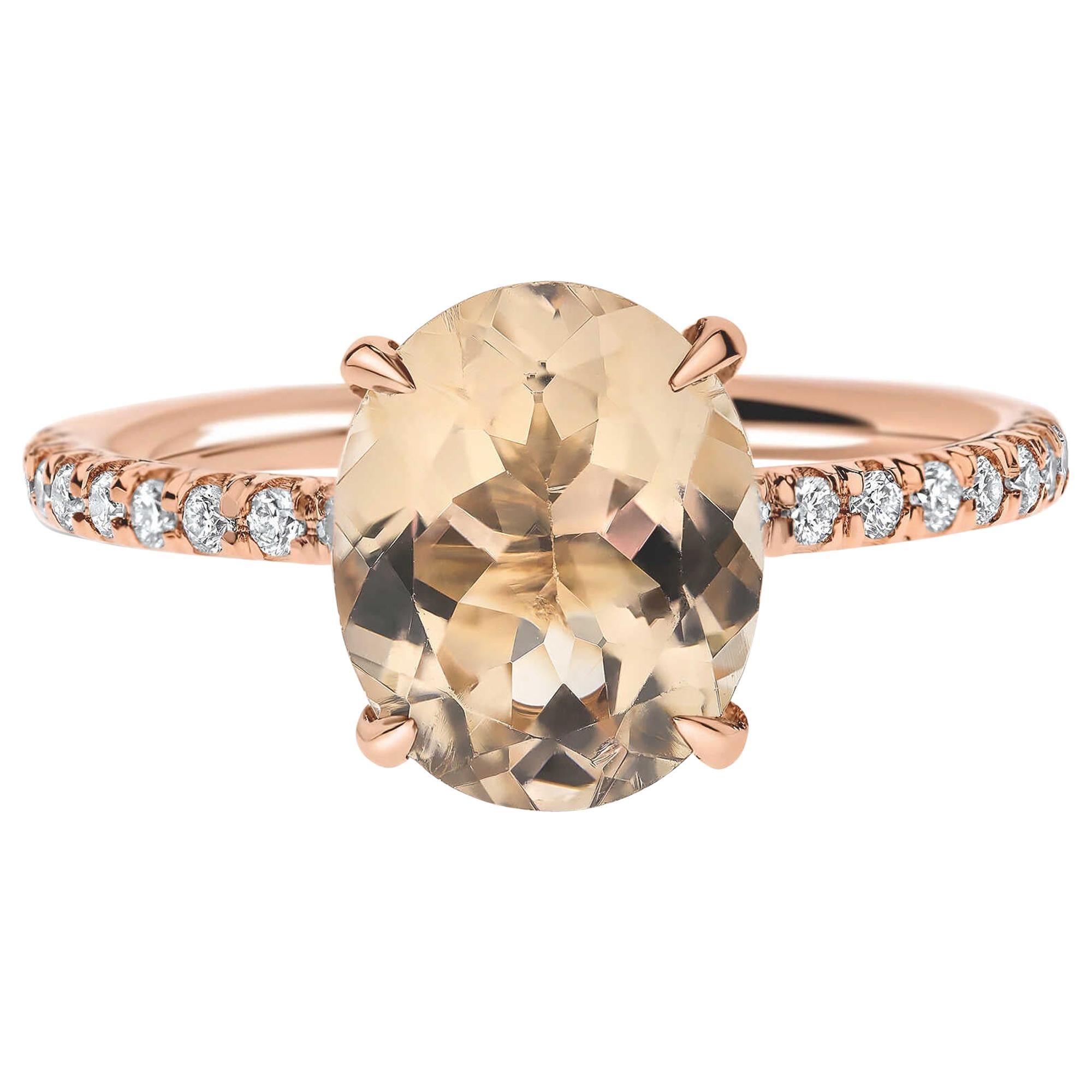 2.1 Carat Oval Morganite and Diamonds Designer Ring in 14 Karat Rose Gold