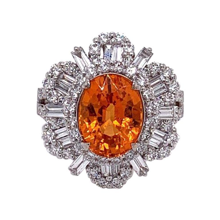 Gem Mandarin Garnet Diamond Gold Sunburst Ring