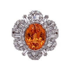 Gem Mandarin Garnet Diamond Gold Sunburst Ring